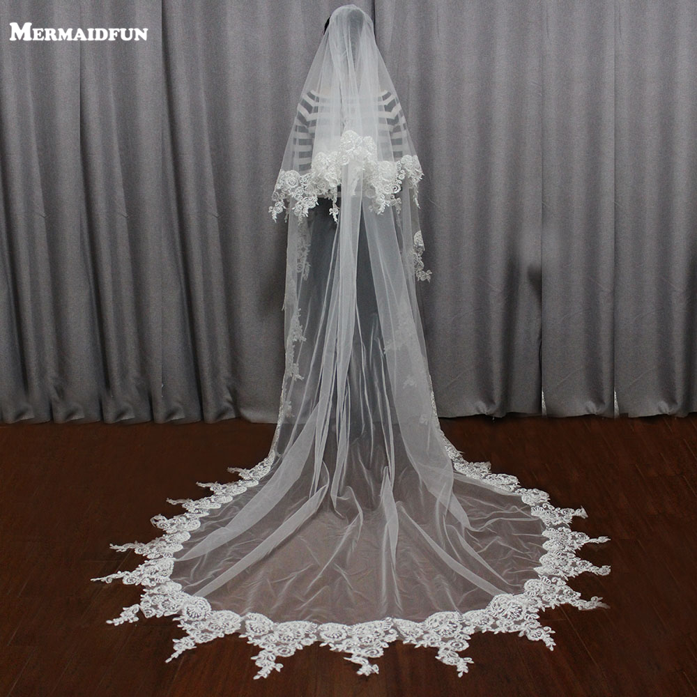 2019 Real Photos Lace Edge To Layer Wedding Veil With Comb 2,5 Meter 2T Beautiful Bridal Veil