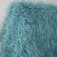 Light Blue Mongolian Curly Sheep Faux Fur Fabric Faux Vest Fur Coat Baby Photography Props Sold By The Yard Free Shipping