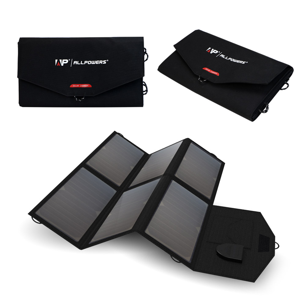 ALLPOWERS High Efficiency Solar Charger System 5V 12V 18V Charging for Mobile Phones Tablets Laptops Car Battery Speaker etc.