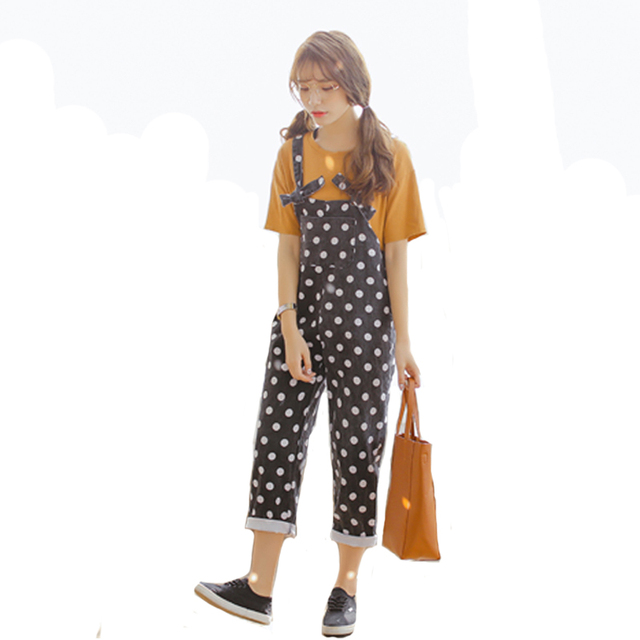 Womens Jumpsuits Black Denim Overalls Casual Dot Skinny Girls Pants Jeans Ankle Length Rompers