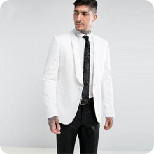 White/Ivory Groom Tuxedos Men Suits for Wedding Slim Fit Best Man Blazers Jacket 2Pieces Shawl Lapel Custom Made Suit Pants