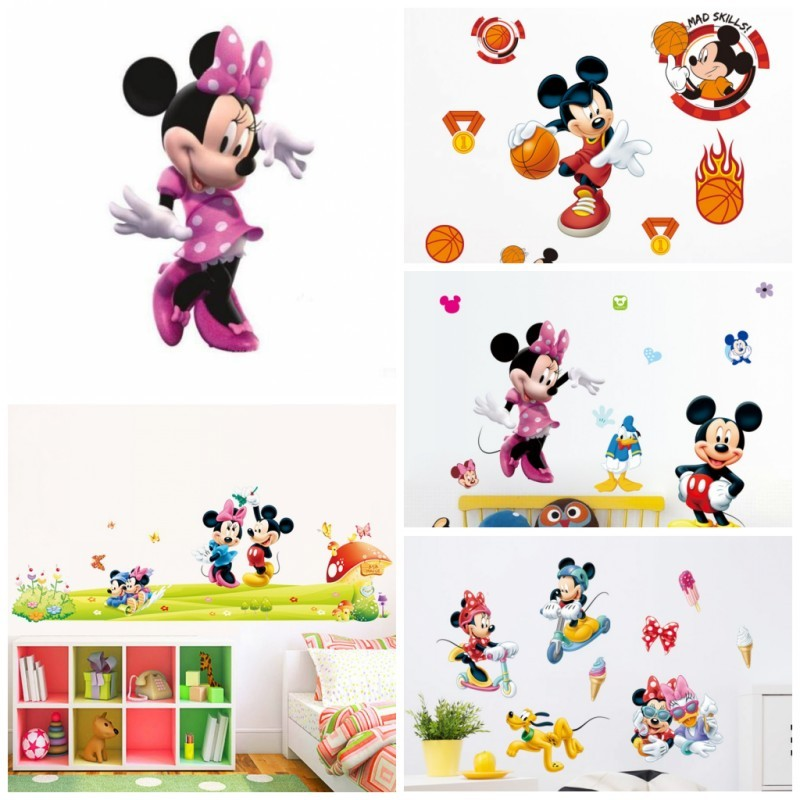 Hot Cartoon Mickey Mouse Minnie Wall Stickers For Kids Room Baby Bedroom Wall Art Nursery Amusement DIY Home Decals Poster