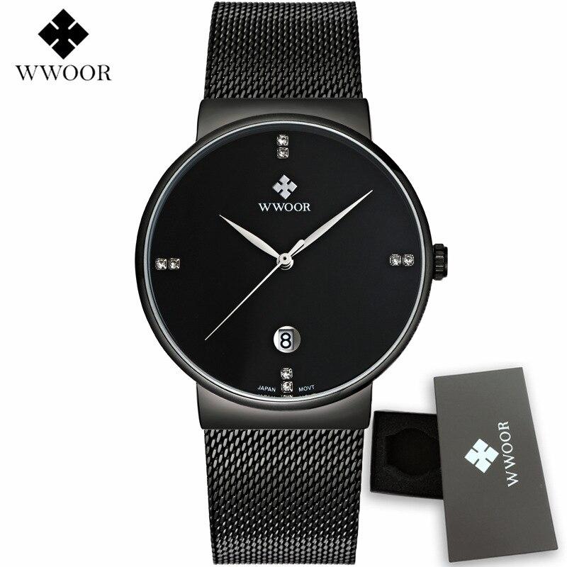2017 New Fashion Mens Watches Top Brand Luxury Black Mesh Strap Quartz Watch Wwoor Men Wristwatches Male Clock Relogio Masculino