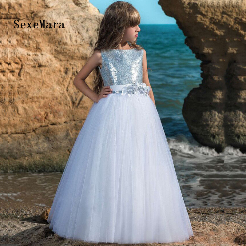 2019 New Cheap   Flower     Girls     Dresses   For Weddings Jewel Neck Silver Sequins Birthday   Dress   Children Party Kid   Girls   Gown Any Size