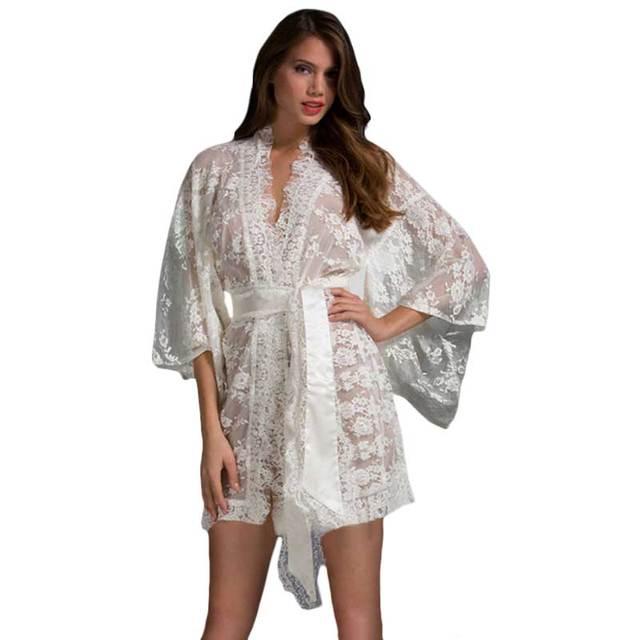 Adogirl Verão Estilo Branco Com Cinto Sexy Lace Robe Para As Mulheres Mulher Roupão Kimono Lingerie Roupa de Dormir Da Frente Aberta