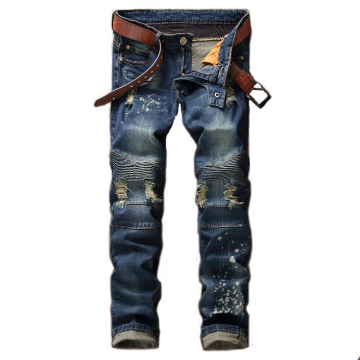 #1545 2017 Mens jeans brand Ripped jeans for men Straight Mens biker jeans Patchwork Skinny jeans men Distressed