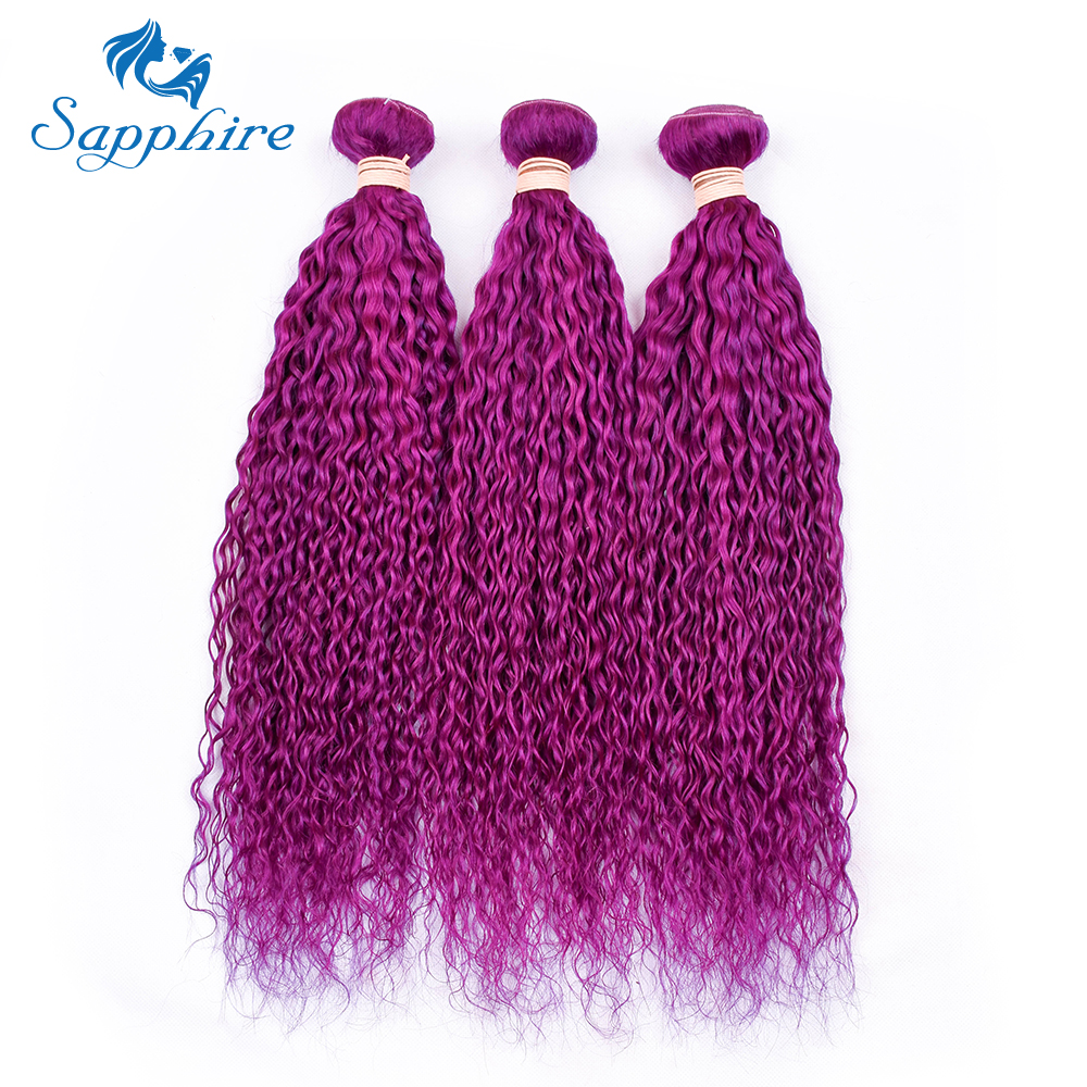 Sapphire Brazilian Purple Color Kinky Curly Human Hair Bundles Pre-Colored 100% Human Hair Bundle 3 PCS Weave Bundles 8-28inch