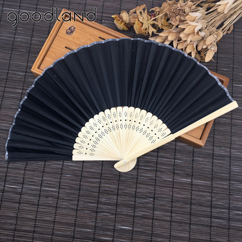 Free Shipping wholesale 50pcs/lot portable Chinese Plain Hand Held Fabric folding fan wedding decoration Wedding Gifts for Guest