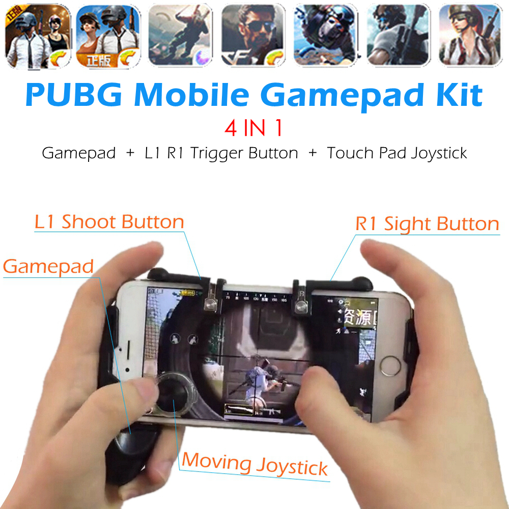 Fortnite PUBG Mobile Game Controller Gamepad L1 R1 Trigger L1R1 Shooter Aim Button Touch Pad Joystick for iPhone Android Phone