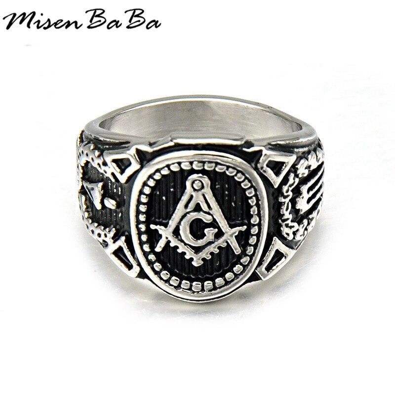 Stainless Steel Rings Masonic Signet Ring