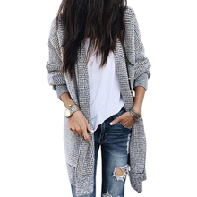Women Jacket-Coats – Plaid – Knitted – Cardigan – Warm – Long – Knitted – Open Stitch