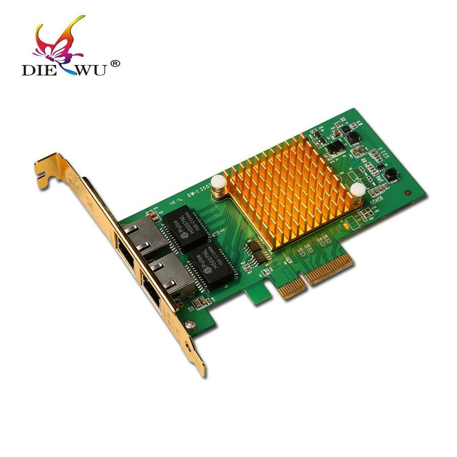 I350 - T2 Network Card PCIe pci express 2 Ports Gigabit Ethernet Server card rj45 rj-45 Nic Original InteI350T2 Chip network card pci express pcie x4 four rj45 gigabit ports server adapter nic i350 t4