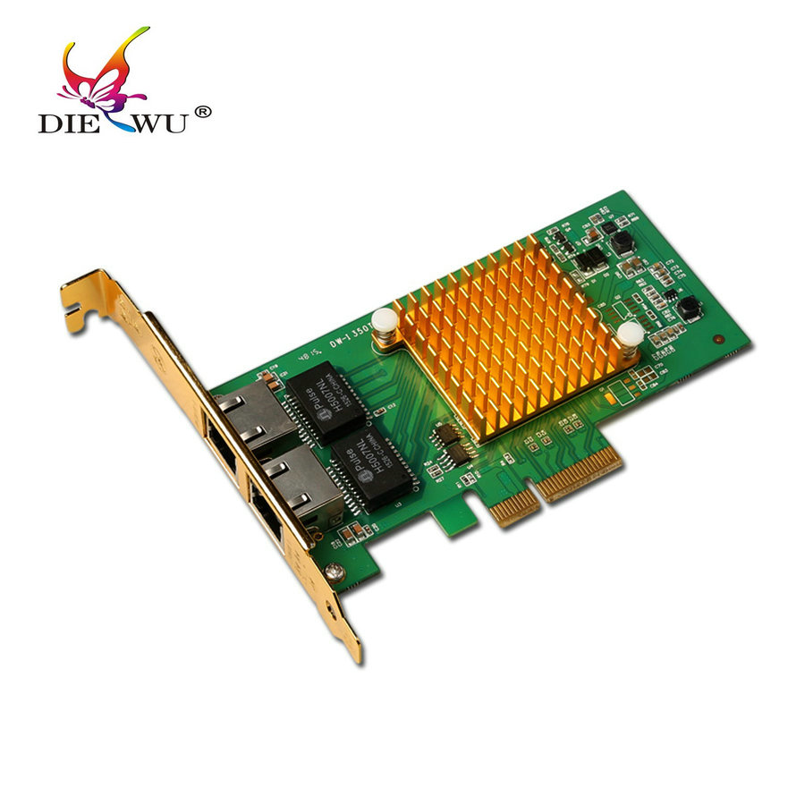 DIEWU I350 - T2 Network Card PCIe pci express  2 Ports Gigabit Ethernet Server card rj45 rj-45 Nic Original InteI350T2 Chip 2 ports rs485 422 pci card optical isolation surge protection 1053 chip