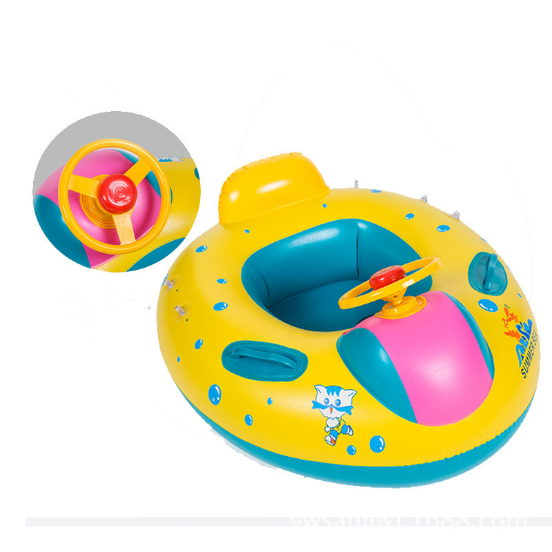 Summer Children Swimming Circle Baby Swimming Boat Inflatable Ride Ring With Horn Sunshade Water Toys