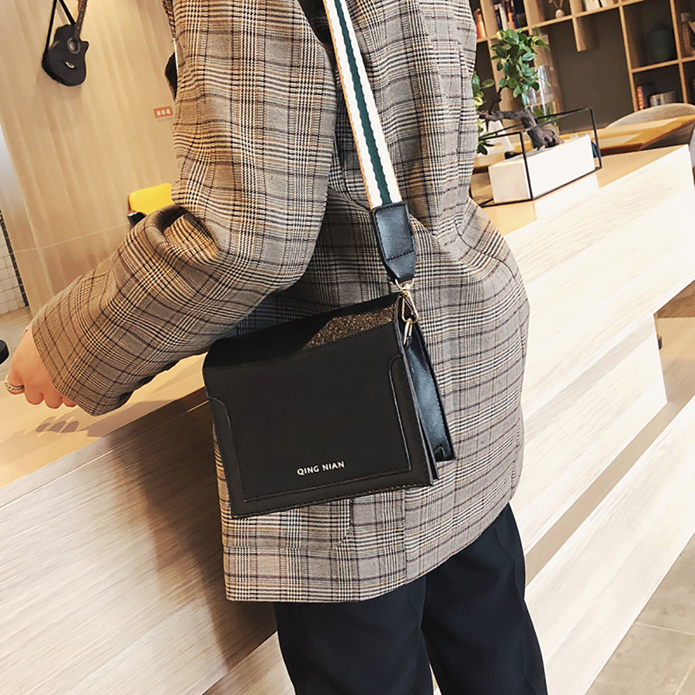 Women Shoulder Bag Wide Shoulder Strap Simple Messenger Bag Small Square Bag 1221 Сумка