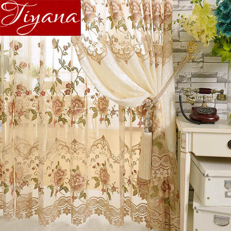 European Luxury Window Curtain for Living Room Velvet Embroidered Floral Tulle Blackout Drape Custom Made Cortinas T&321#30