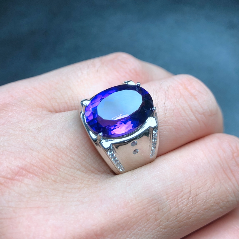 Recommended by the owner new men s ring mysterious purple natural amethyst made of 925 sterling