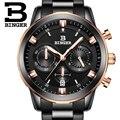 2017 marca Suíça de relógios de luxo homens BINGER quartz completa de aço inoxidável Relógios De Pulso Cronógrafo Mergulhador glowwatch B9011-6
