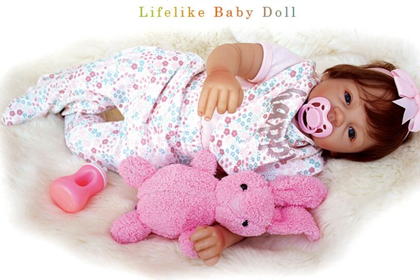 20 soft Silicone baby Born Doll reborn beautiful hair Dolls with plush toy for Girls 53cm with Magnet pacifier girls Gift NPK