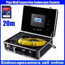 20M cable pipe wall sewer inspection camera system with 7″LCD monitor with DVR function pipe isnpection system, storage, free