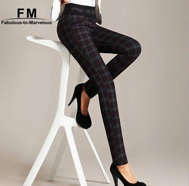 17b07eff279b High Waist Women Pants Checks Plaid Skinny Pencil Elasticated Women Pants &  Capris XXXL Big Size Checked Trousers AW14P017