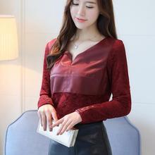 PU Patchwork Lace Shirt 2017 Winter New V-neck Long Sleeve Keep Warm Women Tops Blouse Plis Size Slim Black Red Blusa Feminina