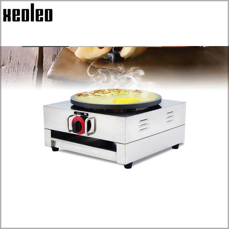 XEOLEO Unique plaque Gaz crêpière Commercial en acier inoxydable plaque unique crêpe faisant la machine en acier inoxydable Non collant