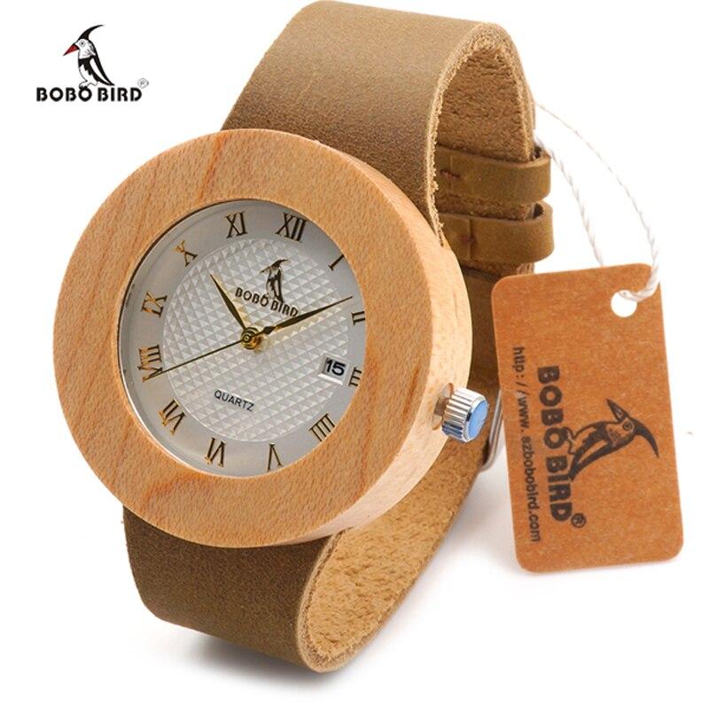 Prix pour Marque de luxe BOBO BIRD Hommes et Femmes En Bois Montre JAPON Mouvement 2035 Montre relogio masculino Bracelet En Cuir Horloge