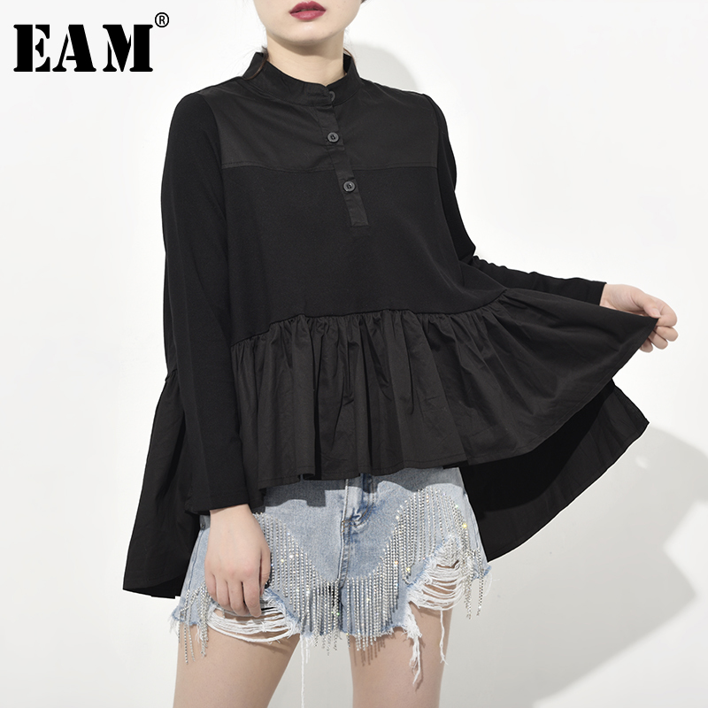 [EAM] 2019 New Autumn Winter Stand Collar Long Sleeve Loose Pleated Back Long Irregular Shirt Women Blouse Fashion Tide JQ0160