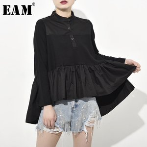 Image 1 - [EAM] 2020 New Spring Autumn Stand Collar Long Sleeve Loose Pleated Back Long Irregular Shirt Women Blouse Fashion Tide JQ0160