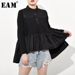 Image 1 - [EAM] blusa larga holgado y plisado con cuello levantado para primavera y otoño, Camisa larga asimétrico con Espalda descubierta, 2020