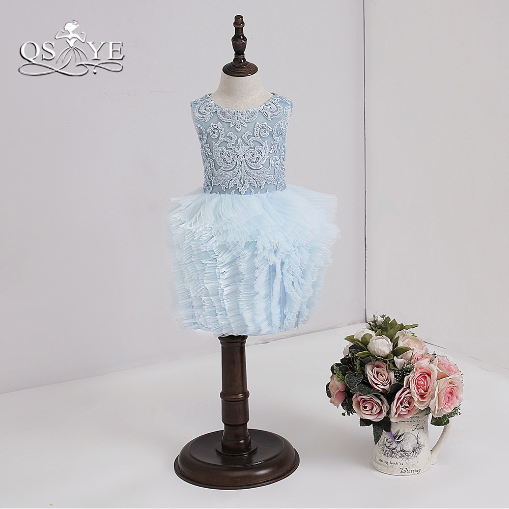 QSYYE 2018 Tiffany bleu mignon fleur fille robes dentelle perlée o-cou genou longueur Tulle volants filles robe de bal
