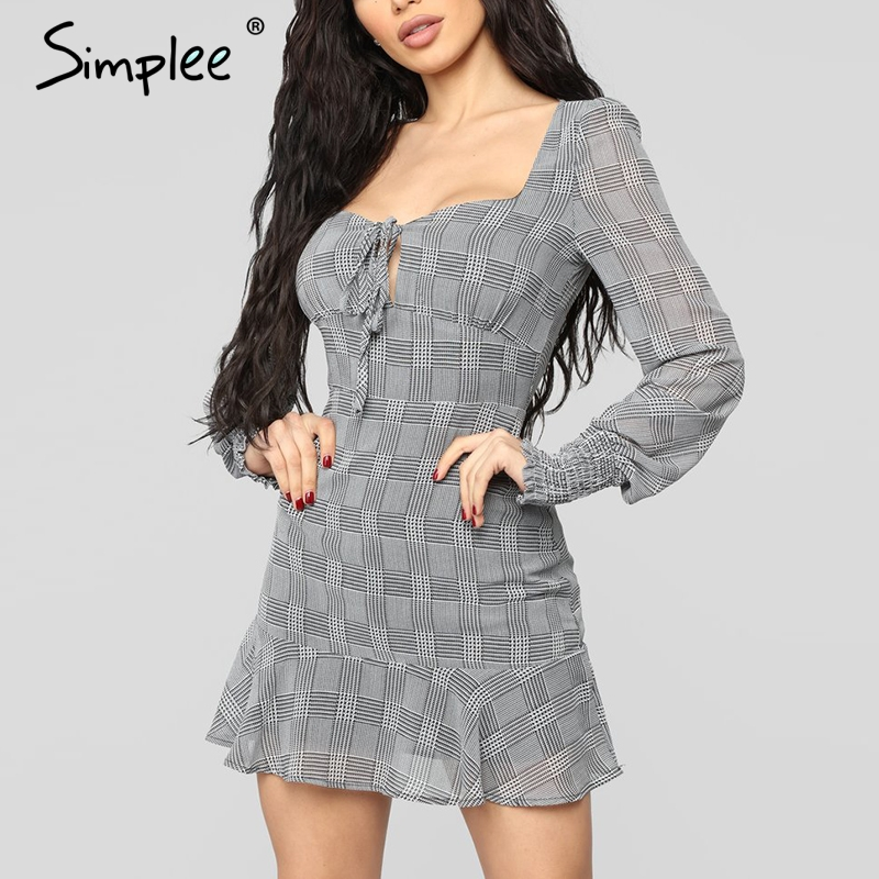 Simplee плед Сексуальная bodycon серое платье женские летние длинные рукава рюшами на шнуровке платья элегантные офисные мини vestidos 2019