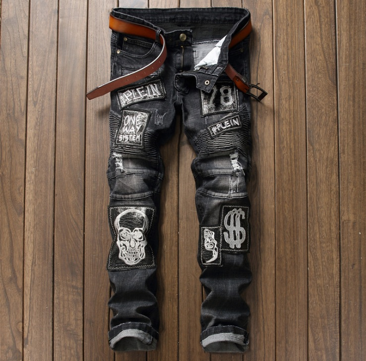 European American Style Mens jeans slim denim trousers Straight famous brand Patchwork mens black zipper jeans pants for men