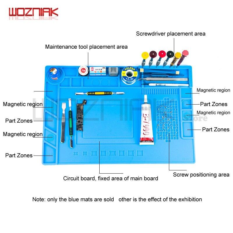 Wozniak Silicone Repair Magnetic Work Pad Main Board Chip CPU NAND Card Slot Pads Cellphone Repairs Soldering Station Blue Mat heat insulation silicone soldering pad repair maintenance platform desk mat 28x20cm r09 drop ship
