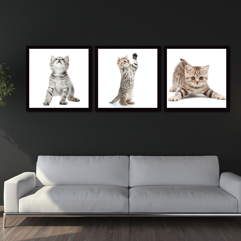 Lovely 3 Pieces Animal Cute Cat Wall Art Picture Home Decoration Living Room  Canvas Print Wall Picture Printing On Canvas In Painting U0026 Calligraphy From  Home ...