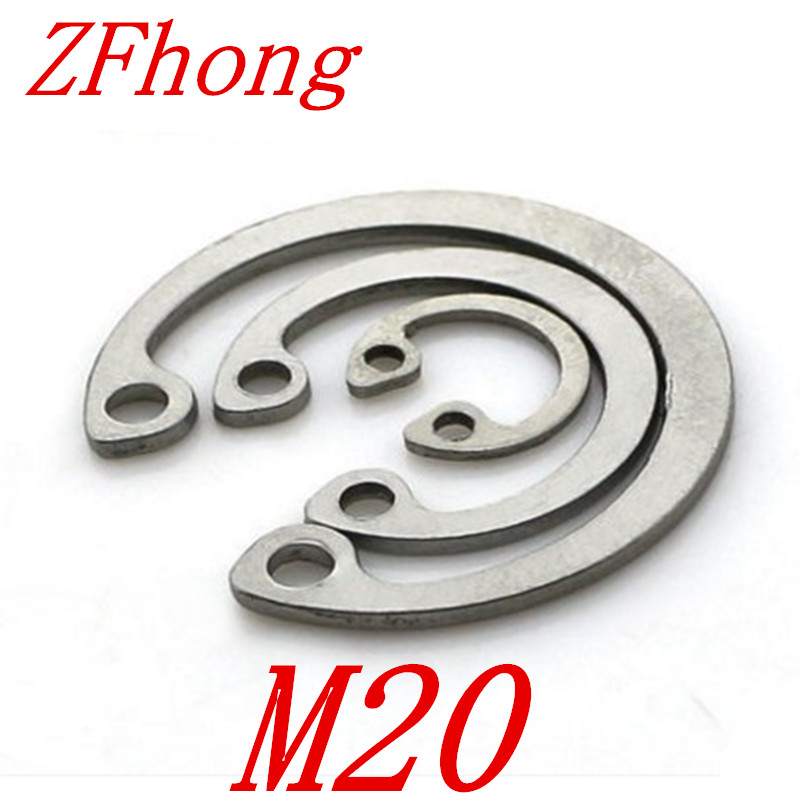 20pcs 304 Stainless Steel SS DIN472 M20 C Type Snap Retaining Ring For 20mm Internal Bore Circlip