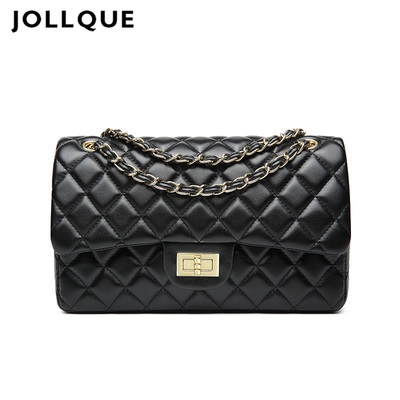 Jollque Messenger-Bag QUILTED Crossbody-Bag Main-Chain Sac C-Design Black Large Casual