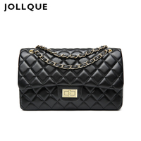 Jollque Women Quilted Large Leather Crossbody Bag Sac A Main Chain Messenger Bag Black Red Casual Shoulder Bag Girls C Design