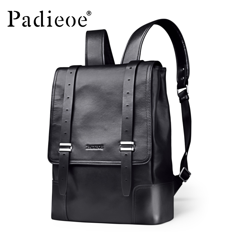 Padieoe Luxury Brand Genuine Leather Backpack Fashion Business Large Capacity Men Backpacks цена