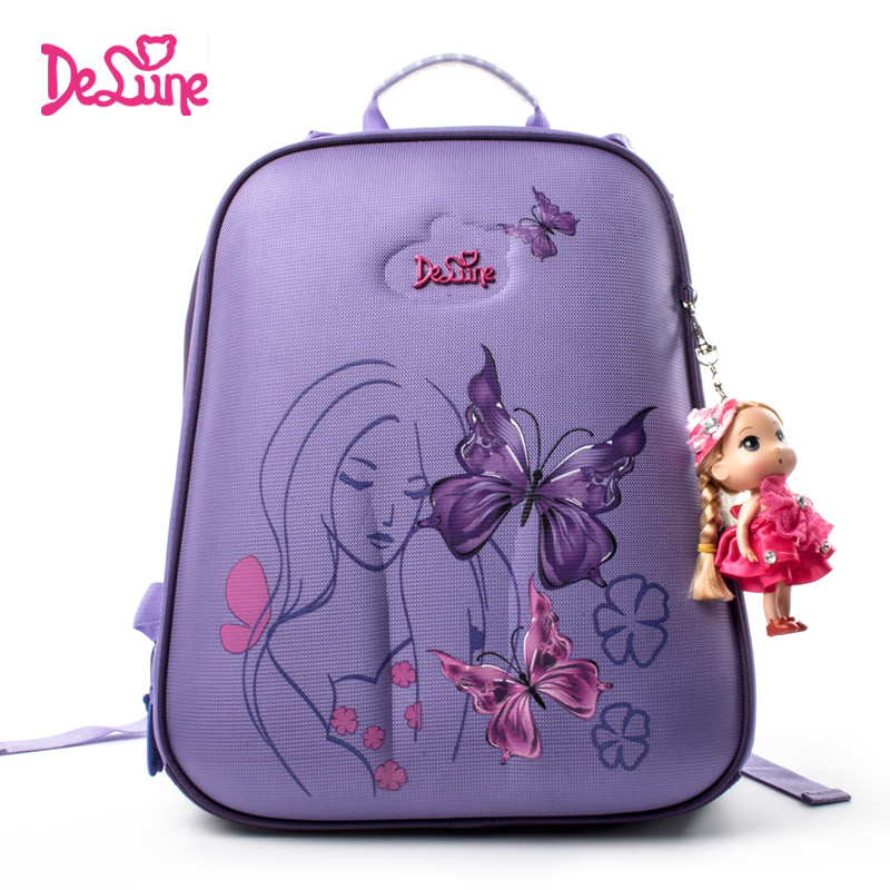 Delune Orthopedic School Backpack For Gilrs Children Primary School Basg For Kid Student Butterfly Mochila Infantil Dropshipping