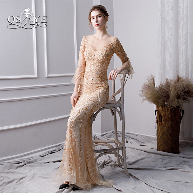 QSYYE 2019 New Beading Long Prom Dresses Robe de Soiree Sexy Mermaid Long Sleeves Evening Dress Women Party Gowns