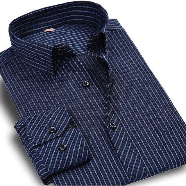 Весна Новый 2017 Полосатый Мужская Рубашка Формальные Мода Длинным Рукавом марка Бизнес Мужчины Повседневная Рубашка Регулярный Fit Plus Размер 5XL 6XL