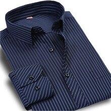 Регулярный полоску формальное бизнес fit рубашка повседневная длинным марка осень рукавом