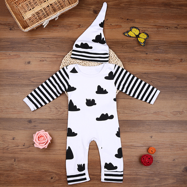 Cloudy Patterned Cotton Rompers For New Born Baby