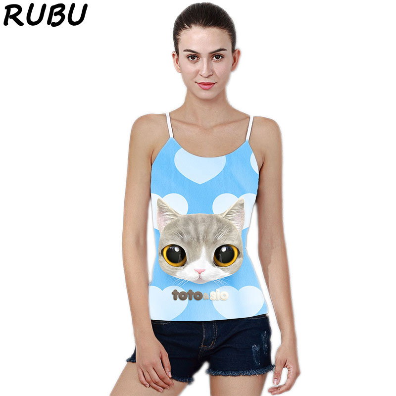 RUBU Women Summer Tank Tops Sleeveless Camisole Crop 3D Printing Cat Tank Tops Women Sexy Leak Back Cotton Casual Vest 7VBZJQ1