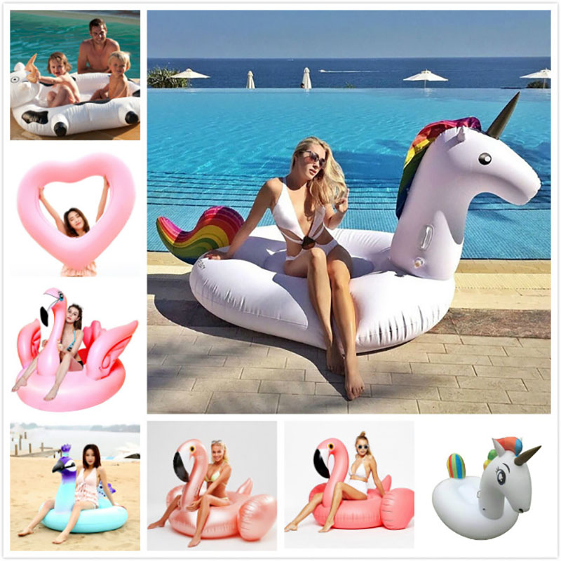 Giant Flower Print Swan Inflatable Float For Adult Pool Party Toys Green Flamingo Ride-On Air Mattress Swimming Ring boia scuba dive light