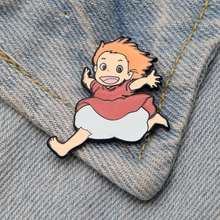 DMLSKY Ponyo on the Cliff Pin Running cute Enamel Pins Shirt Lapel Backpack Bags Badge Clothing Decoration Gifts M3483
