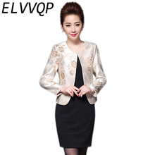 2018 Women's Spring Jacket Elegant Jacquard Embroidery Suit Blazer Feminino Clothing Solid Formal Coat Plus Size Chaqueta Mujer