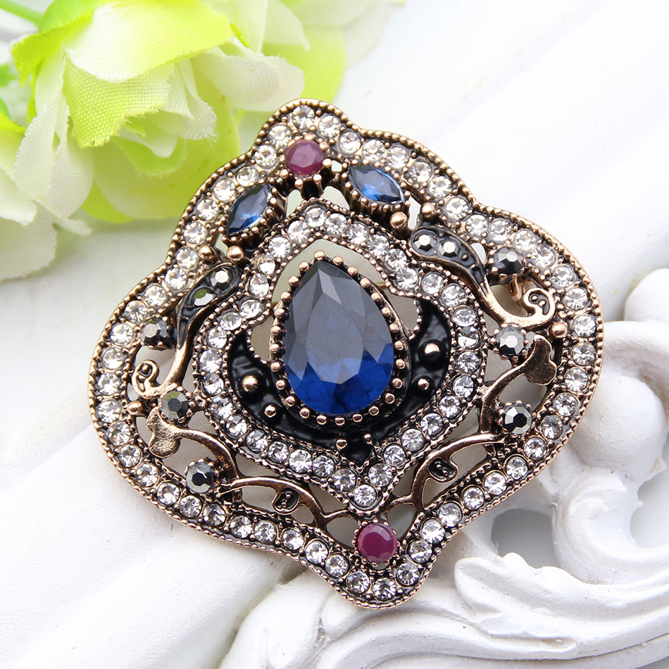 Vintage Turkish Women Tulips Flower Brooch Rhinestone Jewelry Multicolor Resin Hollow Brooches Broches Ladies Party Hijab